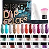 Aikker 12 Glitter Color Dip Powder Nail Kit Gift Set with Recycling Tray Brush File for Winter Party AK16