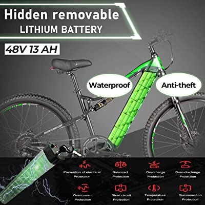 500W Ebike with13ah Removable Lithium Battery Moped Cycle Full Suspension E-MTB Professional 8-Speed Gears Hydraulic Brakes Electric Mountain Bikes for Adults 27.5 Electric Bicycle