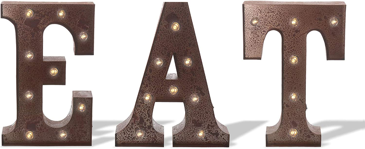 """Barnyard Designs Metal Marquee EAT Light Up Wall Wedding, Home and Kitchen Decoration, 12"""" (Rust)"""