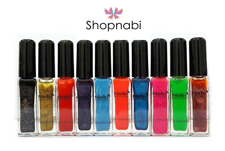Amazon.com : 10pcs Nail Art Nabi Thin Brush Nail Art Lacquer : Nail ...