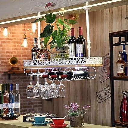 WJJ bastidores de Vino Parrilla de Vidrio Colgante de Vino y ...