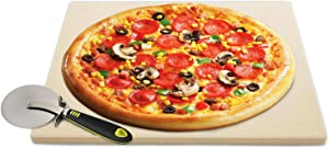 QUANFUN 12''x 12''Inch Pizza Stone for Oven,Heavy Duty Ceramic Baking Stone with Pizza Cutter,Durable and Safe Pizza Stones for Grill and Oven