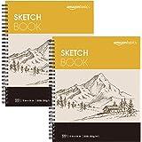 "Amazon Basics Sketch Pad, 11""x14"", 60 lb. / 90 gsm, 100 Sheets, White, 2 Pack"