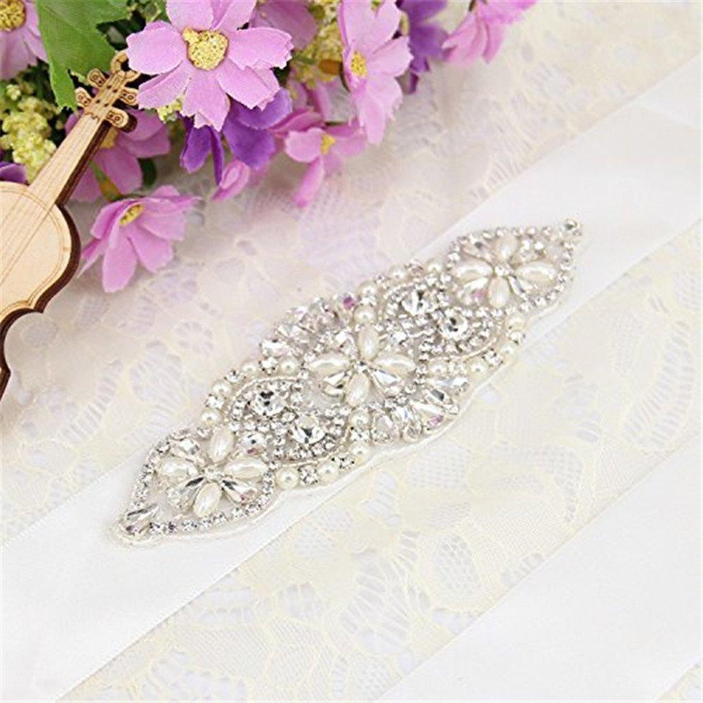 TRLYC - Cintura per abito da sposa, con applique in cristalli di strass, colore: bianco avorio navy ...