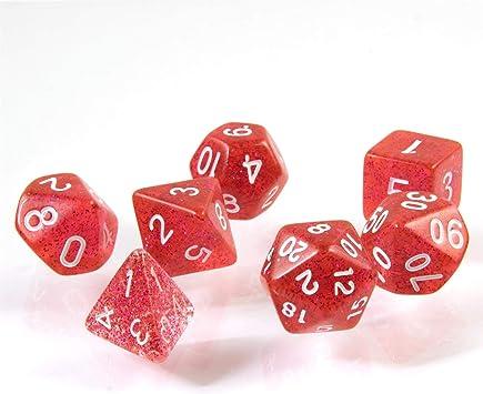 shibby 7 Dados poliédricos en Rojo rutilar para Juegos de rol y Mesa, Incluye Bolsa: Amazon.es: Juguetes y juegos