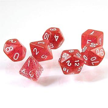 shibby 7 Dados poliédricos en Rojo rutilar para Juegos de rol y ...