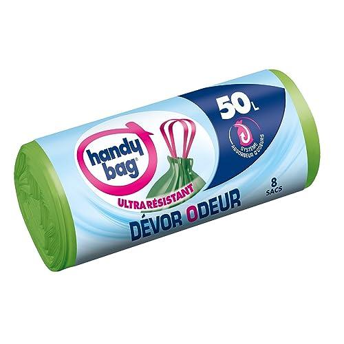Handy-Bag Sacs Poubelle à Poignées Coulissantes Devor Odeur Ultrarésistants 50 L 68 x 73 cm Rouleau de 8 Sacs