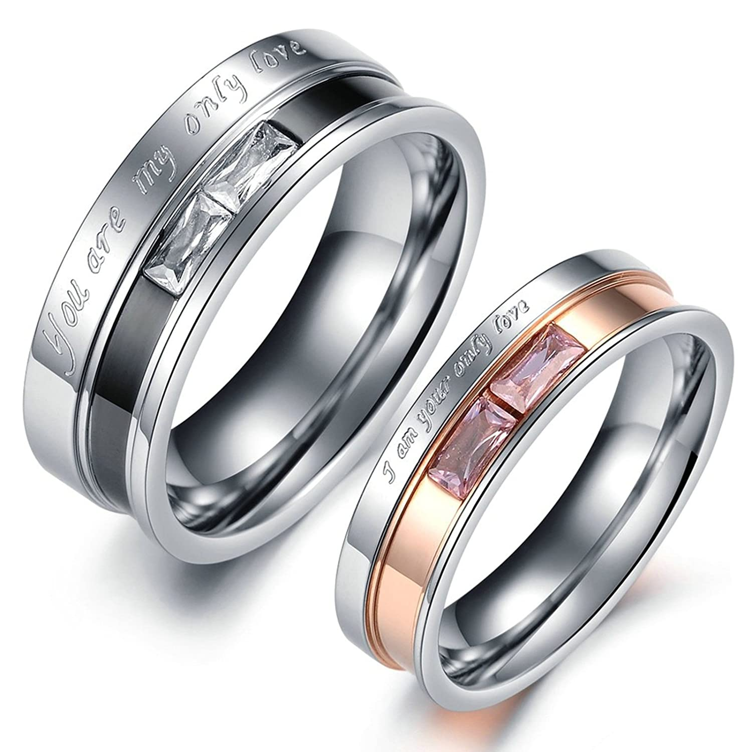 Amazon.com: Wedding Rings for Men and Women Rings Silver Engagement Rings Engraved Women 5 & Men 10: Jewelry