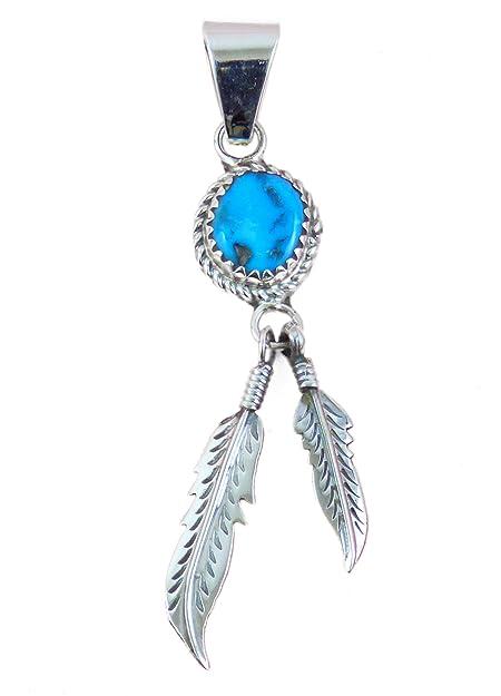 f4cec936c3e2 indios joyas colgante cadena colgante con turquesa y 2 plumas Navajo   Amazon.es  Joyería