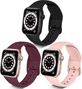 Maledan Compatible with 38mm Apple Watch Bands for Women Men, 3-Pack Soft Silicone Sport Band Replacement Strap Accessory for Apple Watch 38mm 40mm 42mm 44mm Series 6 5 4 3 2 1 SE, Pink/Black/Wine