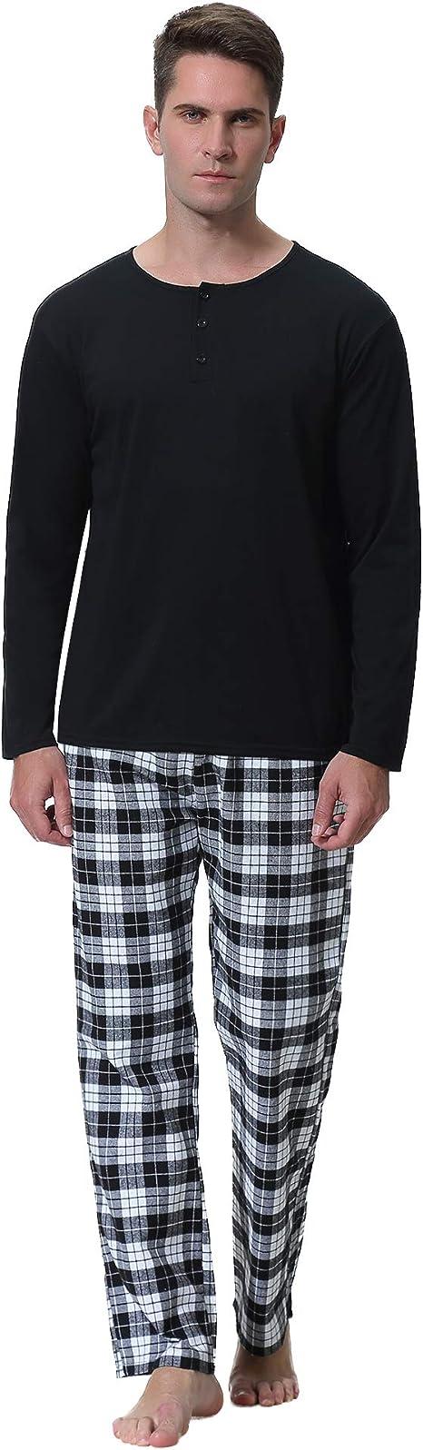 Invierno Aibrou Pijamas para Hombre Ropa de Dormir para Hombre Cl/ásico para Hombre Pijama de Cuello Redondo Ropa de Casa Larga Traje C/ómodo Y Agradable para La Piel Adecuado para Primavera