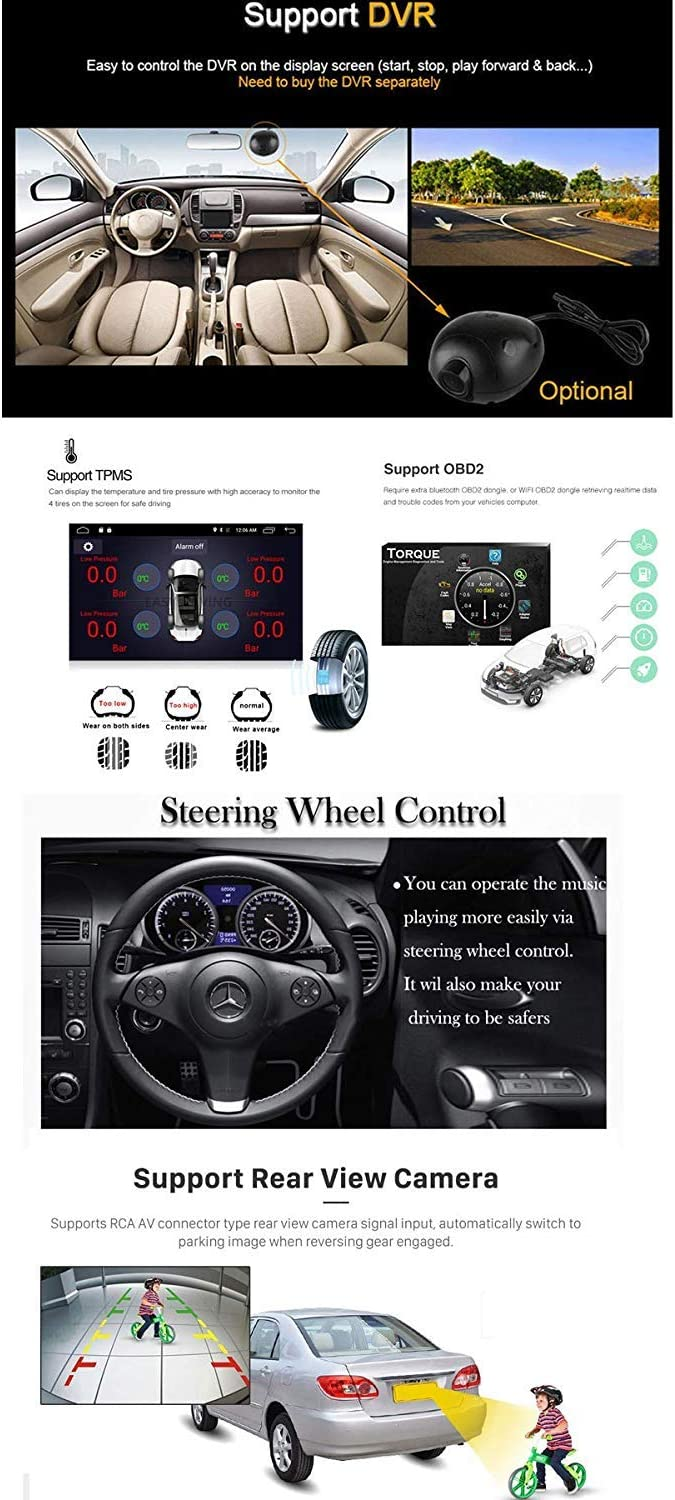 10.1 Android 8.1 Car GPS Double 2Din Quad Core 16GB Touch Screen in Dash Car Stereo Radio Navigation with Bluetooth GPS WiFi DAB OBD SWC Mirror Link Multimedia