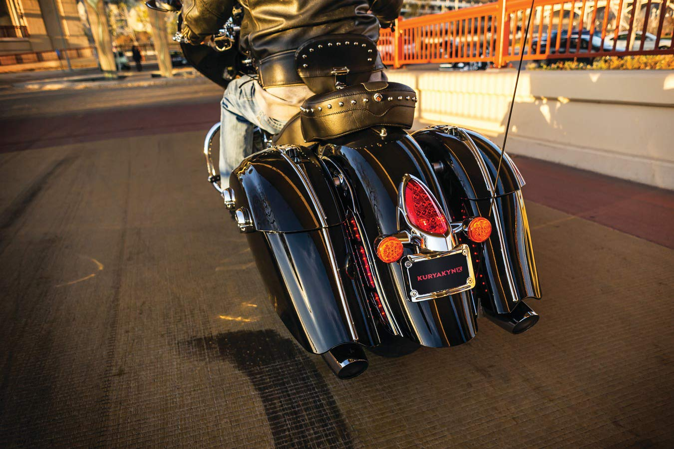 Kuryakyn 5699 Motorcycle Accent Accessory: Curved License Plate Mount Holder and Frame with LED Illumination Lighting for 2014-19 Indian Motorcycles, Chrome by Kuryakyn