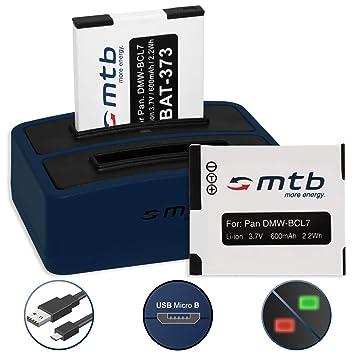 2x Batería + Cargador doble (USB) para DMW-BCL7, BCL7E ...