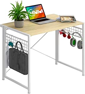 4NM No-Assembly Folding Desk with 8-Hook Small Computer Desk Laptop Table Compact Home Office Desk Study Reading Table for Space Saving Office Table (White with Hook)