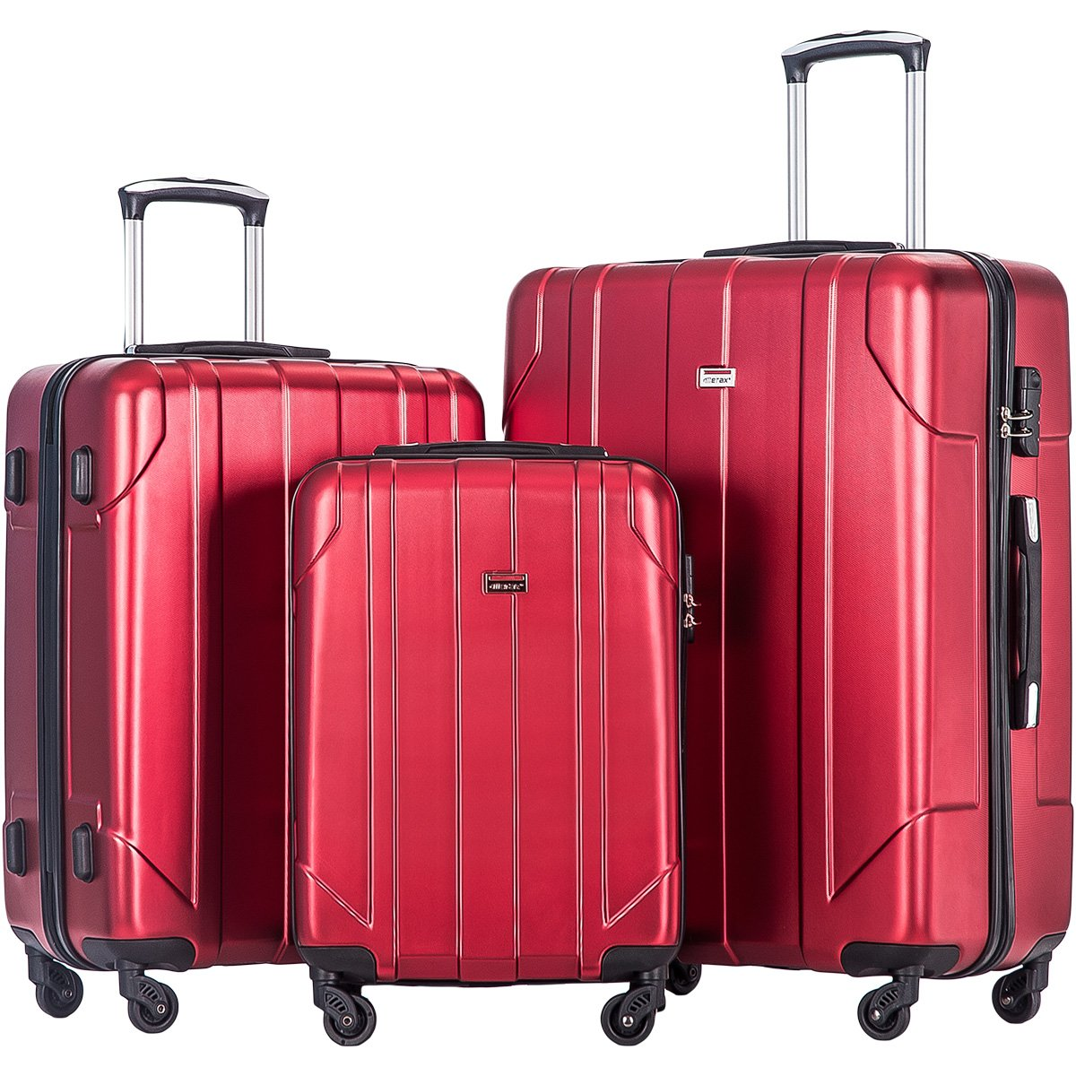 Merax 3 Piece P.E.T Luggage Set Eco-friendly Light Weight Travel Suitcase (Red) by Merax
