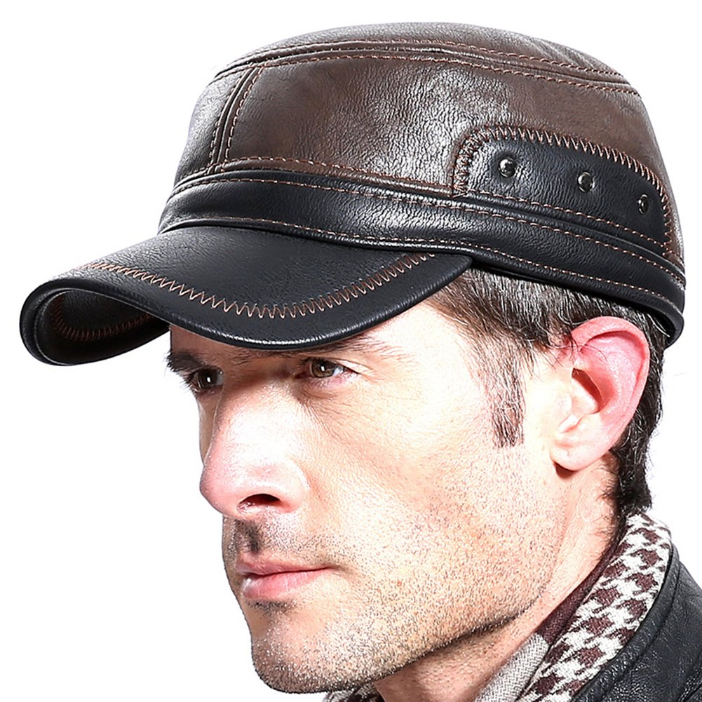 Molodo Men Winter Leather Fur Baseball Newsboy Cap Ear Flap Trapper Hunting Hat BQM01-brown/black