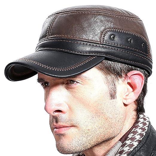 922fc7740a5 Molodo Men Winter Leather Fur Baseball Newsboy Cap Ear Flap Trapper Hunting  Hat Brown Black