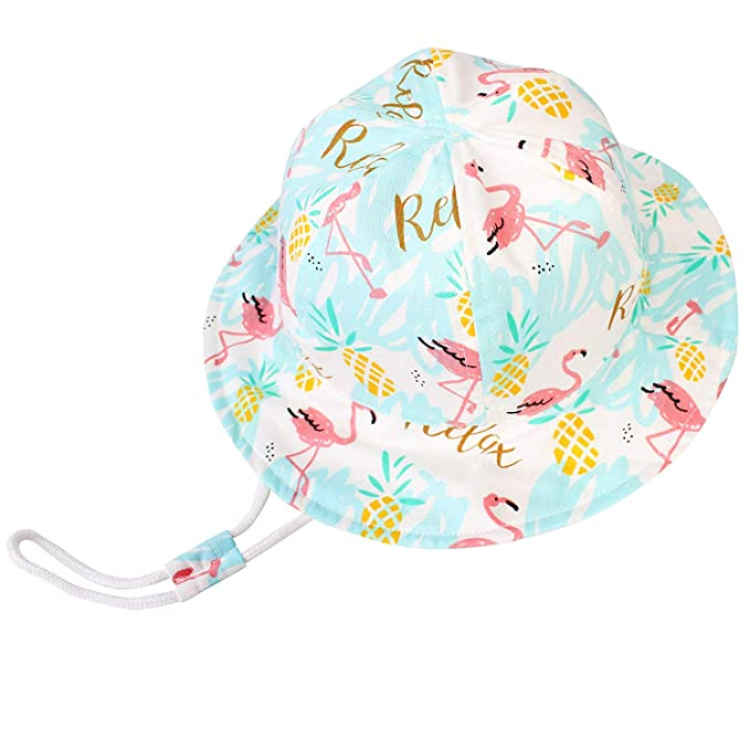Baby-Sun-Hats Bucket-Hat Toddlers Summer Beach UPF 50 Sun-Protection Hats Adjustable with Chin