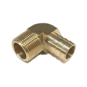 """EDGE INDUSTRIAL 3/4"""" Hose ID to 3/4"""" Male NPT MNPT 90 Degree Brass Elbow Fitting Fuel/AIR / Water/Oil / Gas/WOG"""