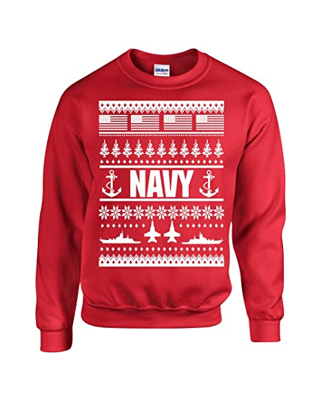 Ugly Christmas Sweater Design.Us Navy Ugly Sweater Design Christmas Crew Sweatshirt