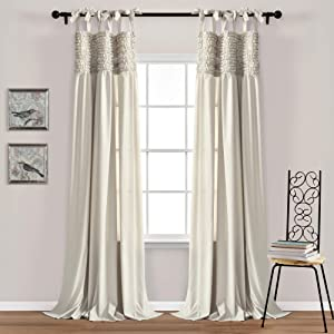 """Lush Decor, Neutral Lydia Curtains Ruffle Window Panel Set for Living, Dining, Bedroom (Pair), 95"""" x 40 L"""