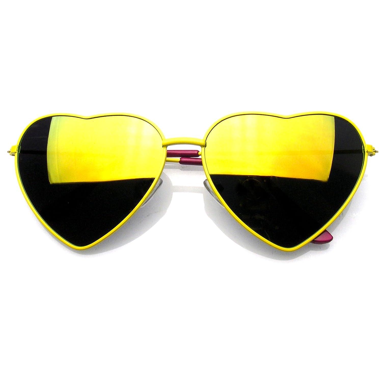 Premium Womens Niedlich Metallrahmen Herz Form Sonnenbrillen (Flash ...