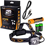 Fenix HP25R 1000 Lumen USB rechargeable CREE XM-L2 U2 LED Headlamp, Fenix 18650 rechargeable Li-ion battery with 2 X EdisonBright CR123A back-up batteries bundle