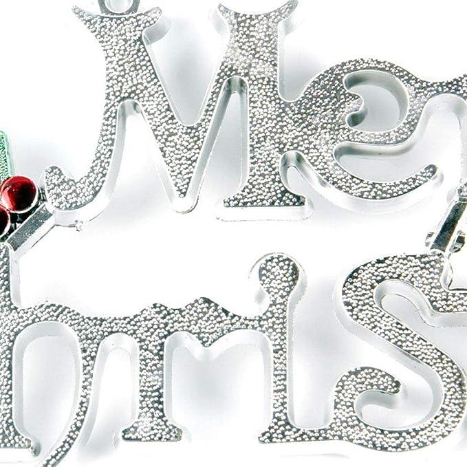 Noël Hemore Accessoire de Noël 20cm décoration de noël Porte de lalphabet de noël Pendaison Maison Argent 1pc Décoration de la maison