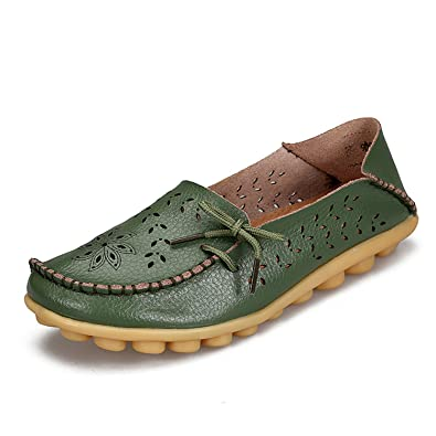 Surprising Day Women's Casual Shoes Genuine Leather Woman Loafers Slip-On Female Flats Moccasins Ladies Driving Shoe Cut-Outs Mother Footwear Gold 11