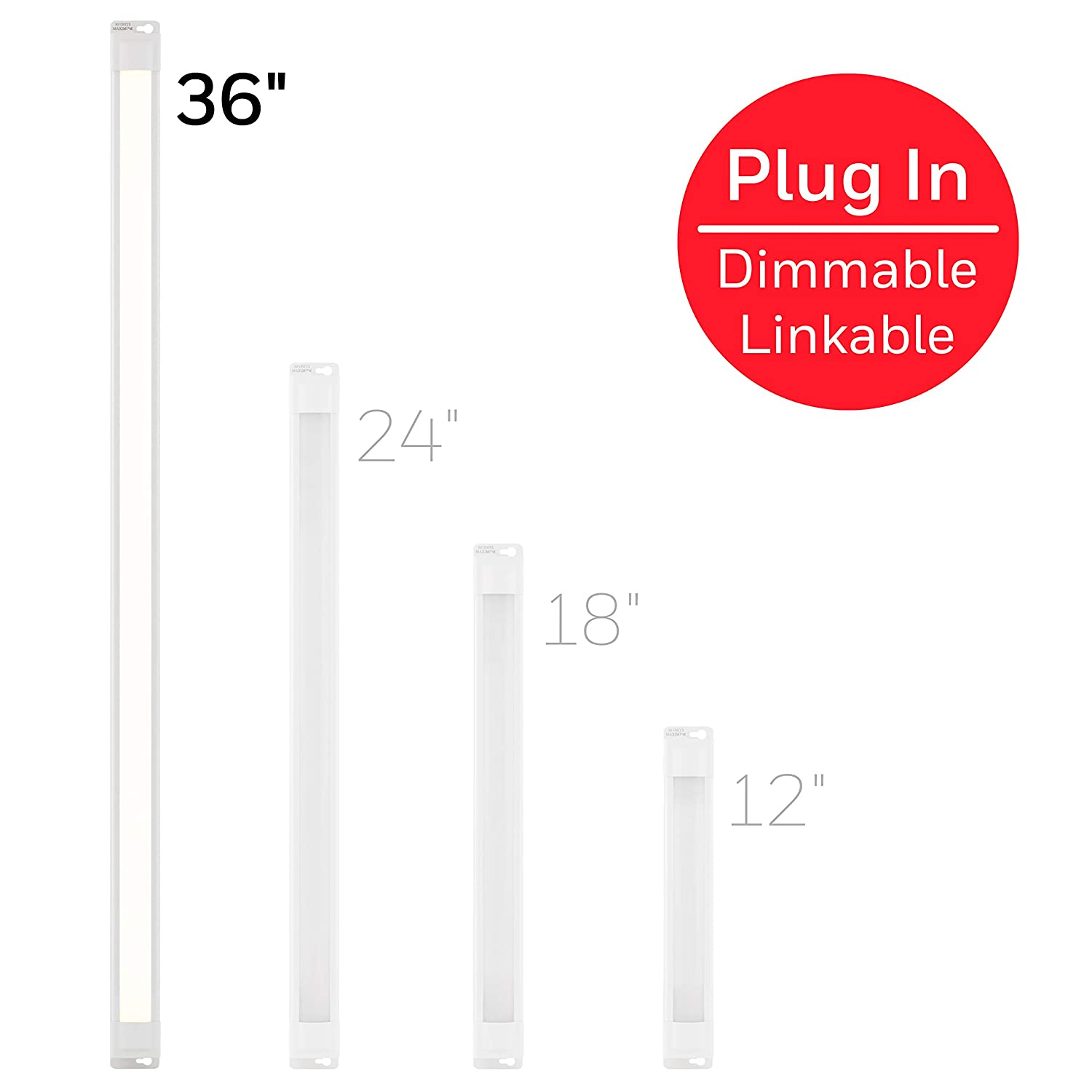 Honeywell 36in. Linkable Fixture, Selectable Brightness, Slim LED Strip, Cabinet, Kitchen Light, HI/Off/Low Switch, Plug-in or Direct Wire, 44108, 36 in, White