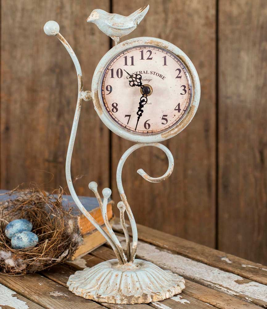 Songbird Desk Clock - Classic Vintage Retro Old Fashioned Decorative Metal Songbird Desk Clock for Your Home décor. Antique White Finish, Battery Operated and Easy to Read