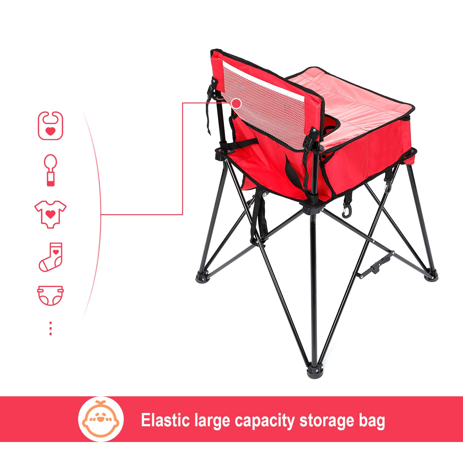 VEEYOO Baby Portable High Chair for Travel Machine Washable Baby Highchair for Eating Foldable Highchair with Tray for Baby Toddler Red