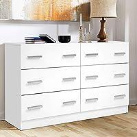 Artiss 6 Chest of Drawers Wooden Lowboy Dresser Storage Cabinet for Bedroom Hallway