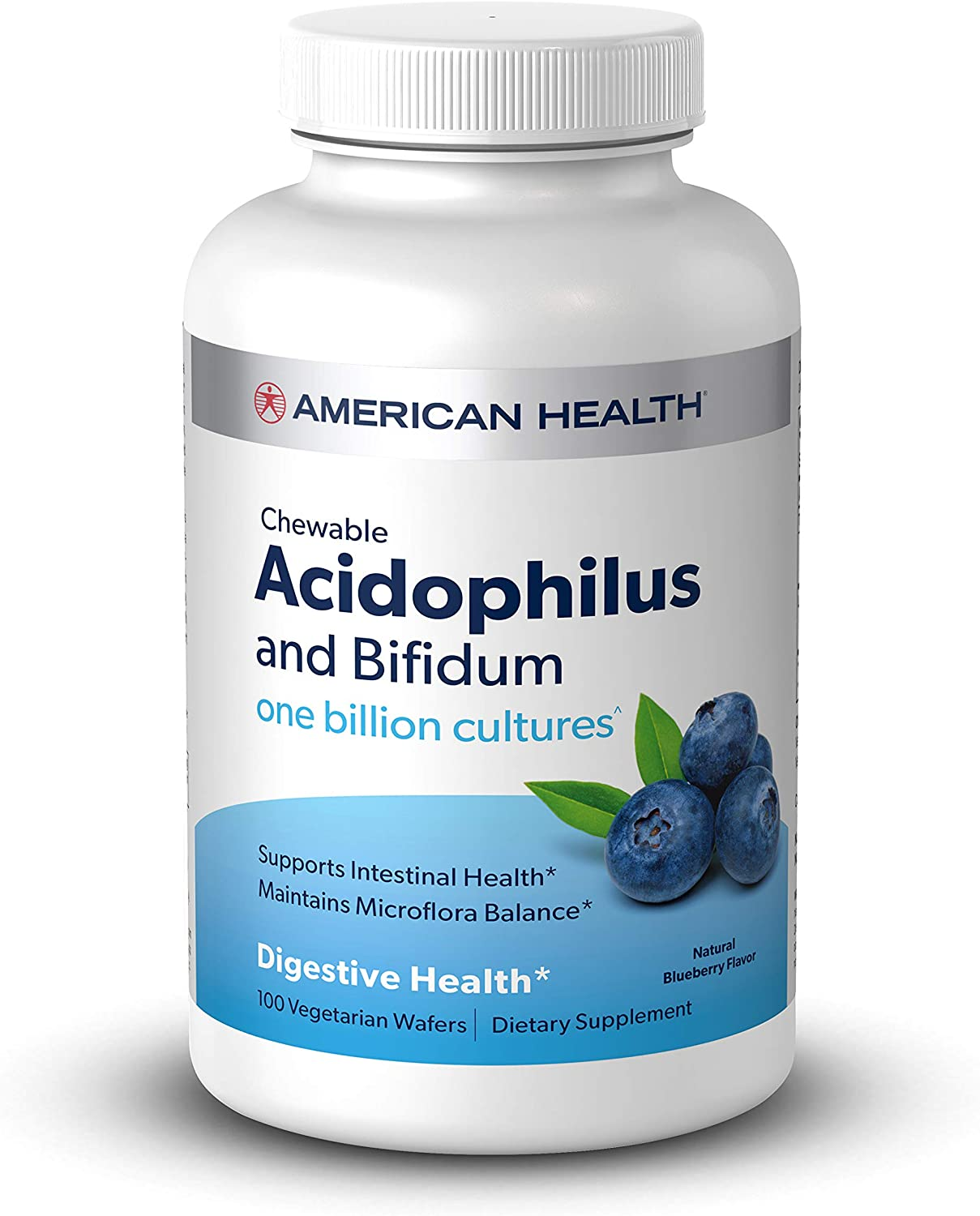 American Health Chewable Probiotic Acidophilus and Bifidum, Natural Blueberry Flavor Wafers - Supports Digestive Health, Intestinal Balance & Immune Function - Vegetarian - 100 Total Servings