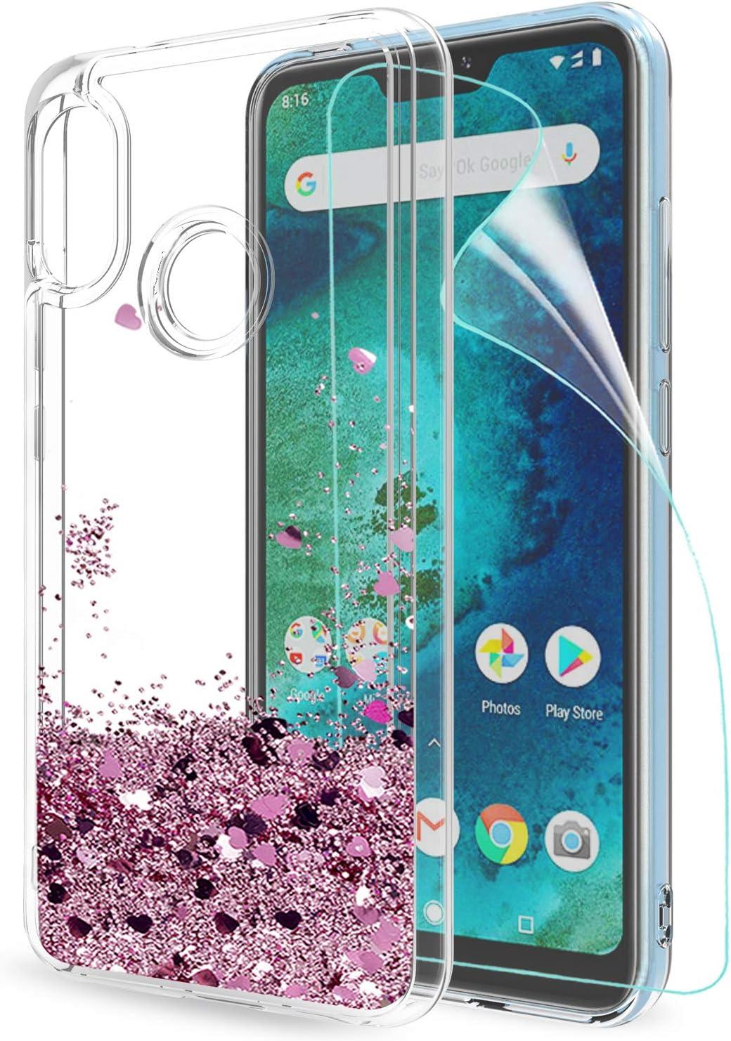 LeYi Funda Xiaomi Mi A2 Lite/Redmi 6 Pro Silicona Purpurina Carcasa con HD Protectores Transparente Cristal Bumper Telefono Gel TPU Fundas Case Cover para Movil Mi A2 Lite ZX Oro Rosa