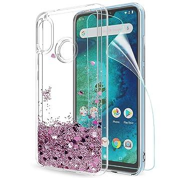 LeYi Funda Xiaomi Mi A2 Lite/Redmi 6 Pro Silicona Purpurina Carcasa con HD Protectores Transparente Cristal Bumper Telefono Gel TPU Fundas Case Cover ...