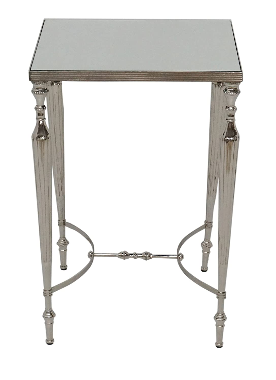 Designe Gallerie DG-38361/16383 Como Cakra Square Accent Side End Table with Mirrored Top, Aluminum, Smaller Spaces, Living Room, Bedroom, Contemporary- Nickel Plating