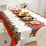 Leoie Christmas Table Cover Rectangle Printing Tablecloth for Restaurant Household Decoration D