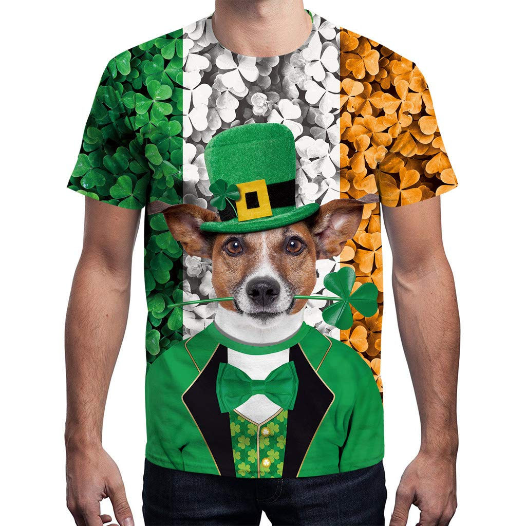 2019 Unisex St.Patricks Day Green Leaf Puppy Print Short Sleeve Tee Shirt Top Easytoy Men T Shirts Clearence!