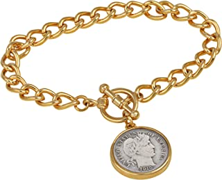 product image for Silver Barber Dime Goldtone Coin Toggle Bracelet