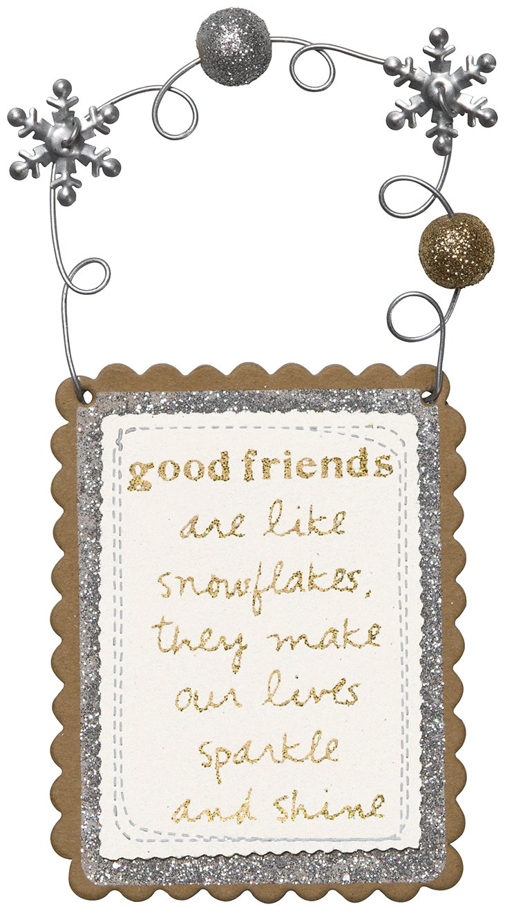 C.R. Gibson Gift Tag/Mini-Plaque, Gift Tag With Layered Cardstock Detailing And Beaded Handle, Measures 3'' x 4'' - Good Friends