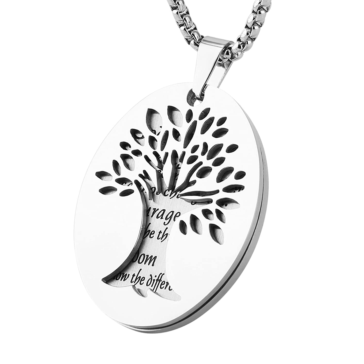HZMAN Two Piece Serenity Prayer Stainless Steel Pendant Necklace with Tree of Life Cut Out