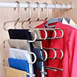 DOIOWN S-type Stainless Steel Clothes Pants Hangers Closet Storage Organizer for Pants Jeans Scarf hanging (14.17 x 14.96ins) (1-Piece)