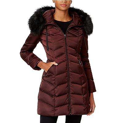 T Tahari Gwen Faux-Fur-Trim Hood Down 3/4 Puffer Coat Jacket Merlot