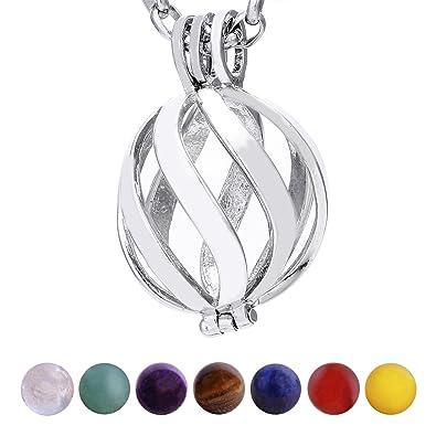90b00289dd36e Morella Collier Femme 70 cm en Acier Inoxydable avec Pendentif Spirale et 7  Pierres précieuses minéraux