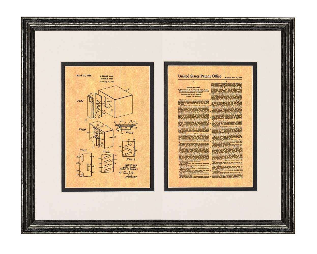 """Microwave Oven Patent Art Print in a Black Wood Frame with a Double Mat (20"""" x 24"""") M15866"""