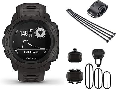 Garmin Instinct Bike Bundle - Reloj de pulsera para bicicleta con montura de bicicleta y sensor de