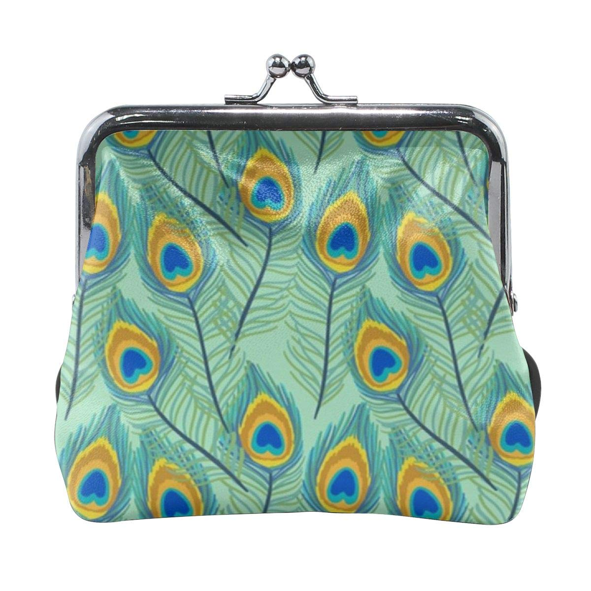 TYDhey Green Peacock Feather Pattern Classic Buckle Coin Purses Leather Kiss-Lock Change Wallets