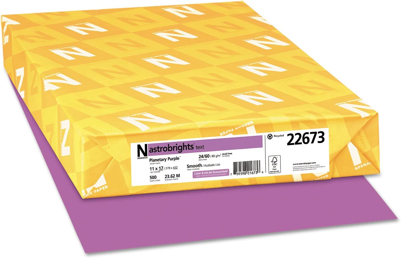 24lb 500 Sheets//ream 11 X 17 Planetary Purple Astrobrights Colored Paper